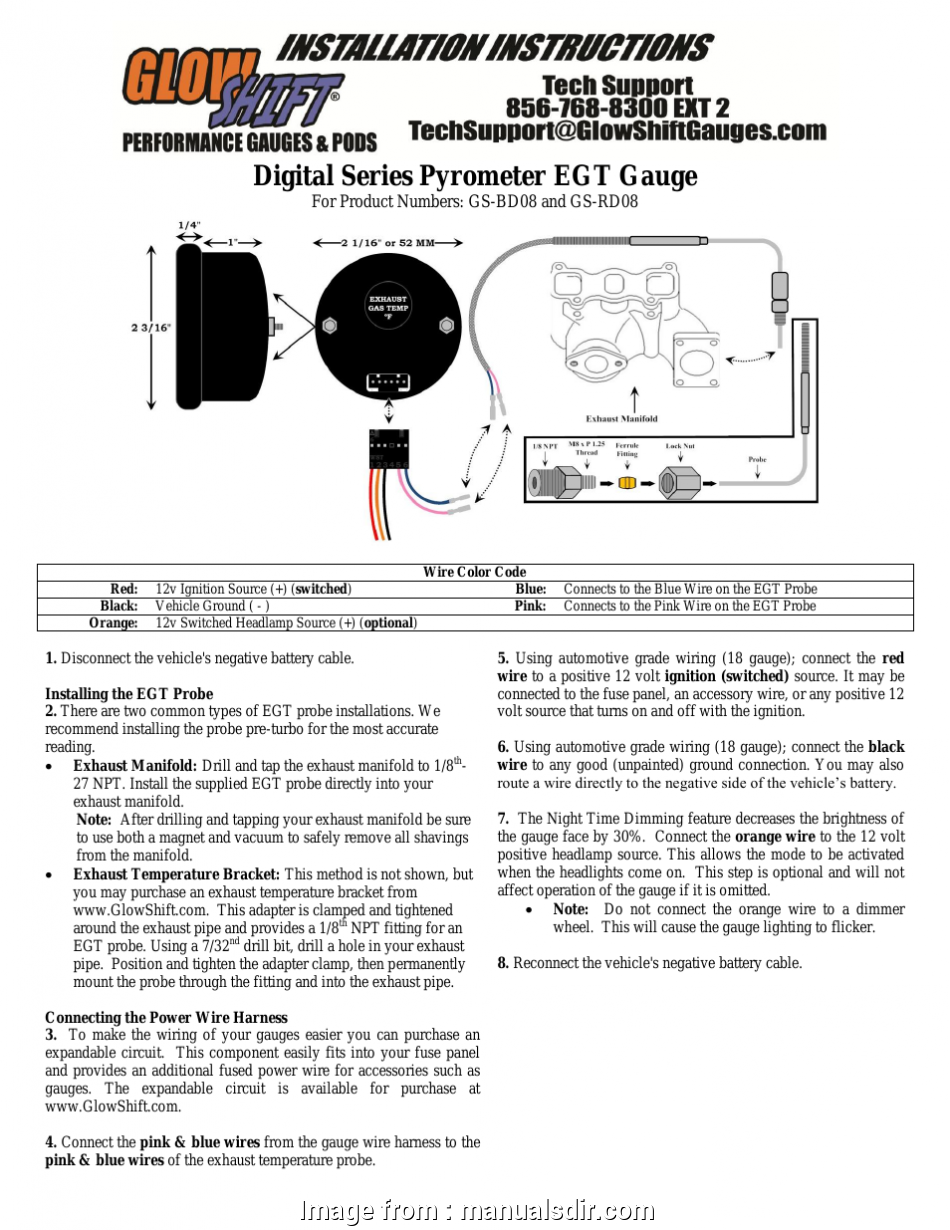 18 gauge wire 12 volt GlowShift Digital Series Pyrometer, Gauge User Manual, 3 pages, Also for: Exhaust, Temperature Gauge 17 Popular 18 Gauge Wire 12 Volt Galleries