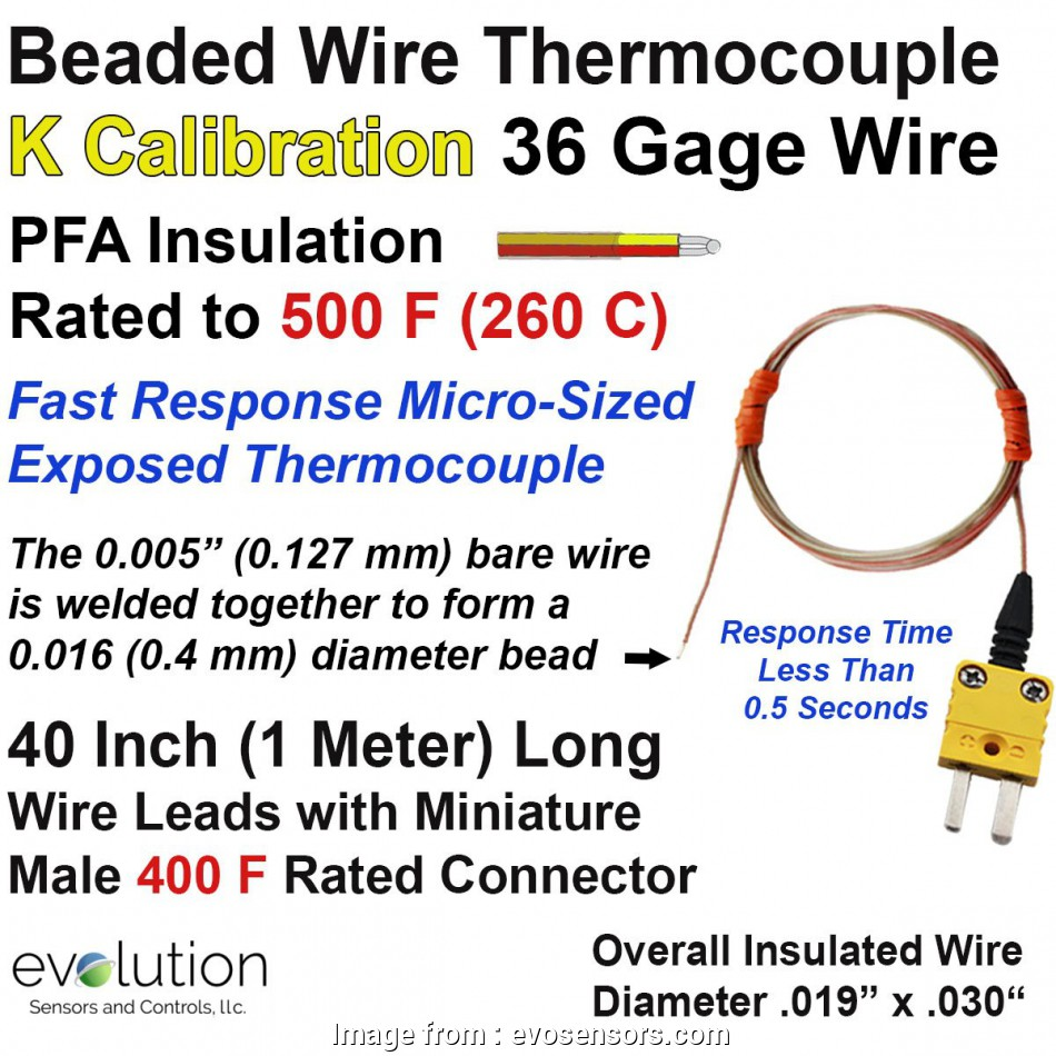 18 gauge wire diameter in inches Thermocouple Beaded Wire Sensor Type K 36 Gage, Insulated 40 inches long with Miniature Connector 13 Popular 18 Gauge Wire Diameter In Inches Collections