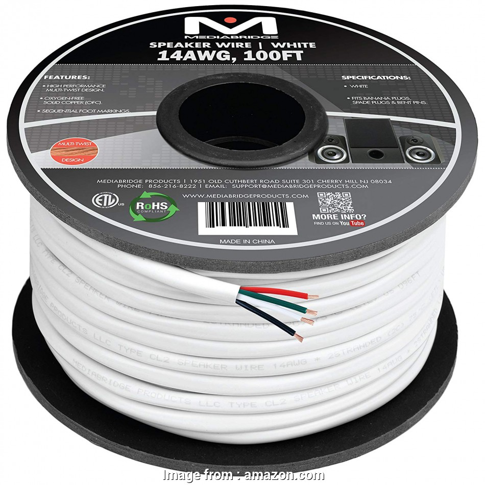 18 gauge wire solid core Mediabridge 14AWG 4-Conductor Speaker Wire (100 Feet, White), 99.9% Oxygen Free Copper -, Listed &, Rated, In-Wall, (Part# SW-14X4-100-WH 16 Fantastic 18 Gauge Wire Solid Core Galleries