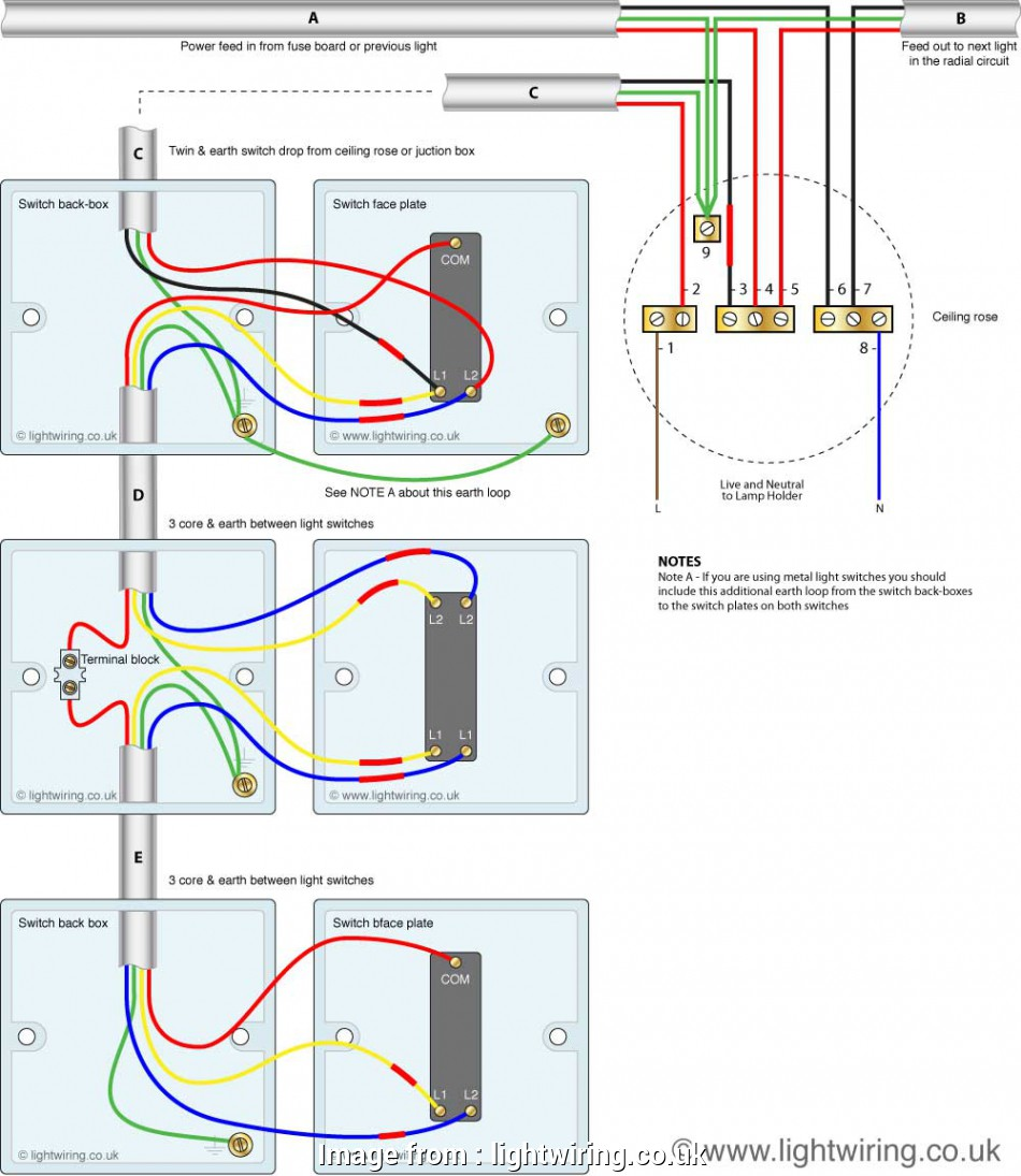 3-way switch wiring diagram with 3-lights Three, light switching circuit diagram (old cable colours) 8 Fantastic 3-Way Switch Wiring Diagram With 3-Lights Galleries