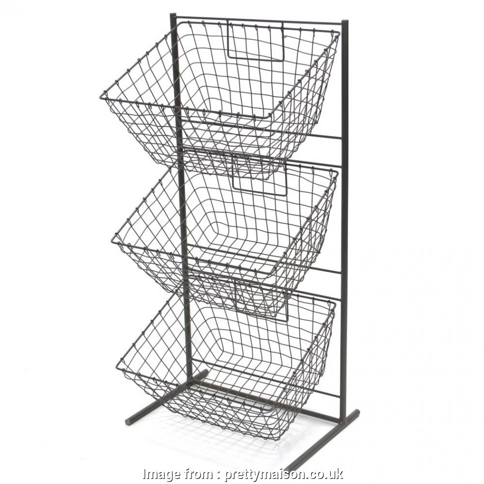3 Wire Basket Storage Unit Simple 3 Tier Metal Display Stand ...