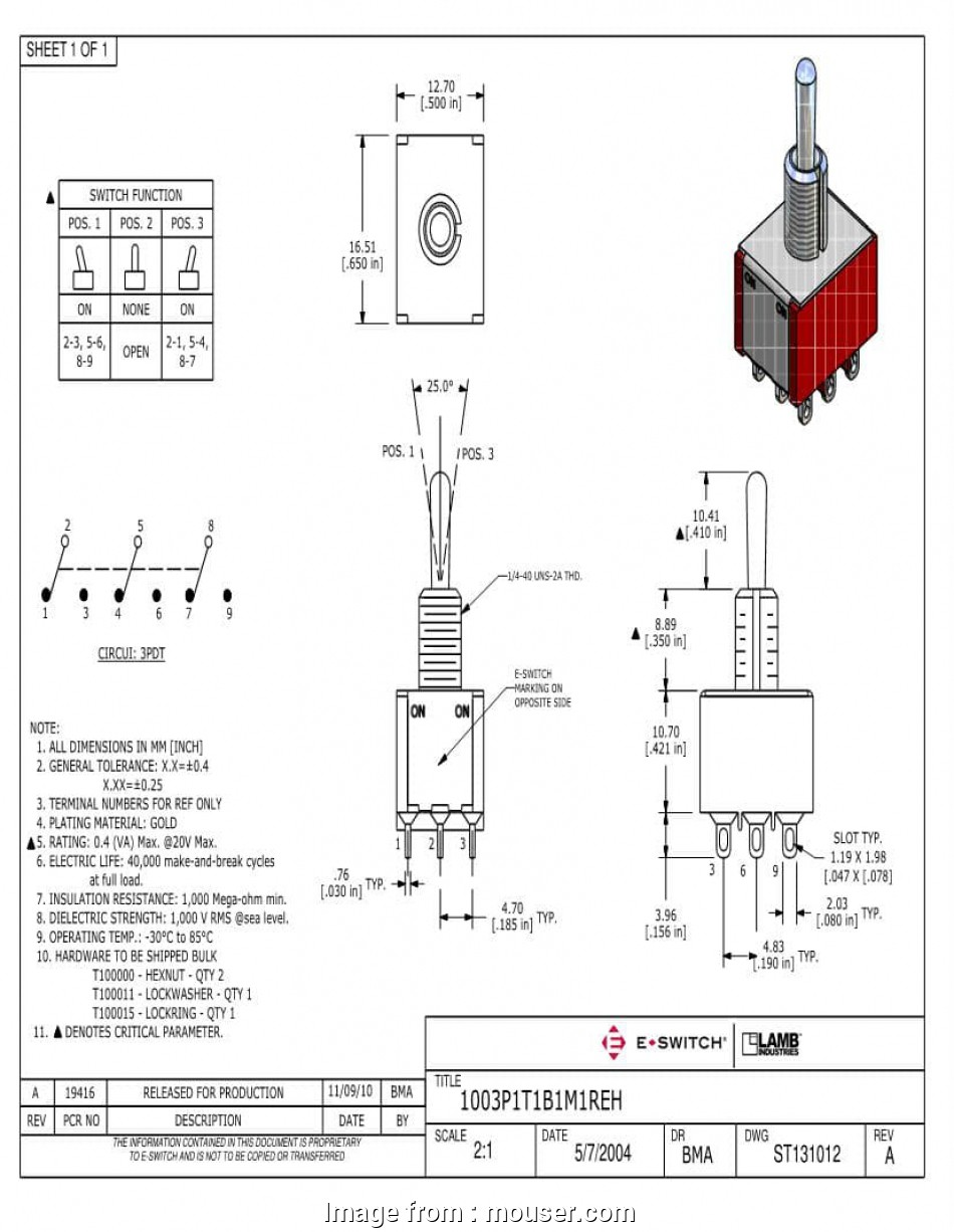 3pdt toggle switch wiring diagram 3pdt on, on toggle switches, mouser 3pdt  toggle switch