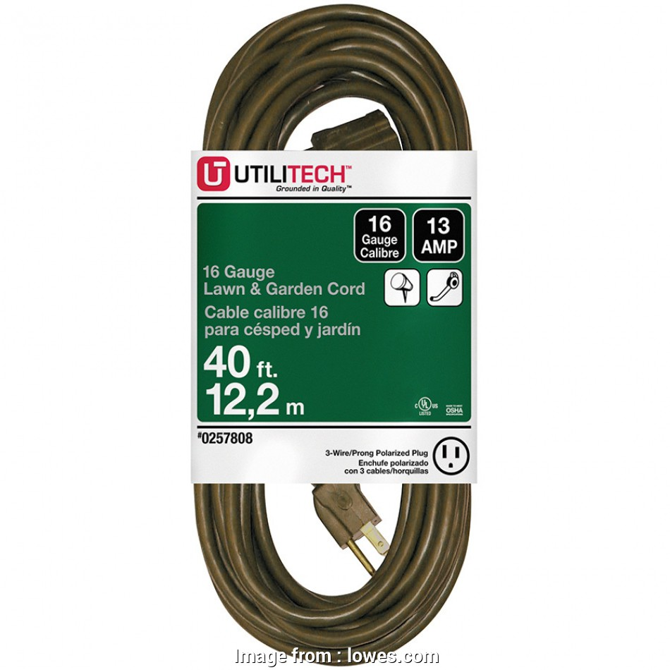 6 gauge wire extension cord Utilitech 40-ft 13-Amp 1-Outlet 16-Gauge Brown Outdoor Extension 16 Top 6 Gauge Wire Extension Cord Galleries