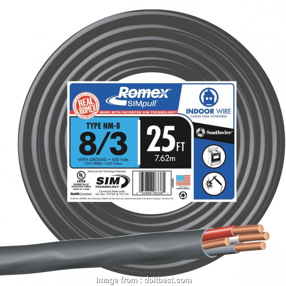 8 gauge 3 wire cable Romex, NMW/G Wire, 63949221, Do it Best 8 New 8 Gauge 3 Wire Cable Pictures