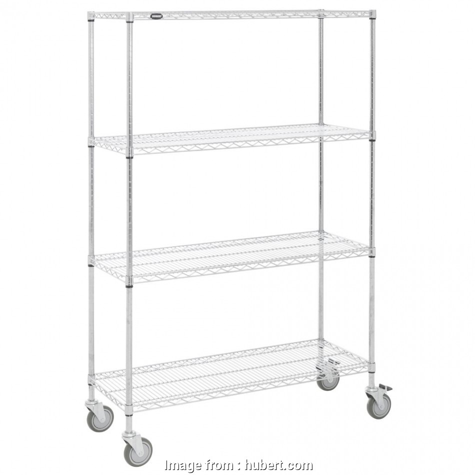 chrome plated wire shelving HUBERT® 4-Shelf Chrome-Plated Mobile Wire Shelving, 48