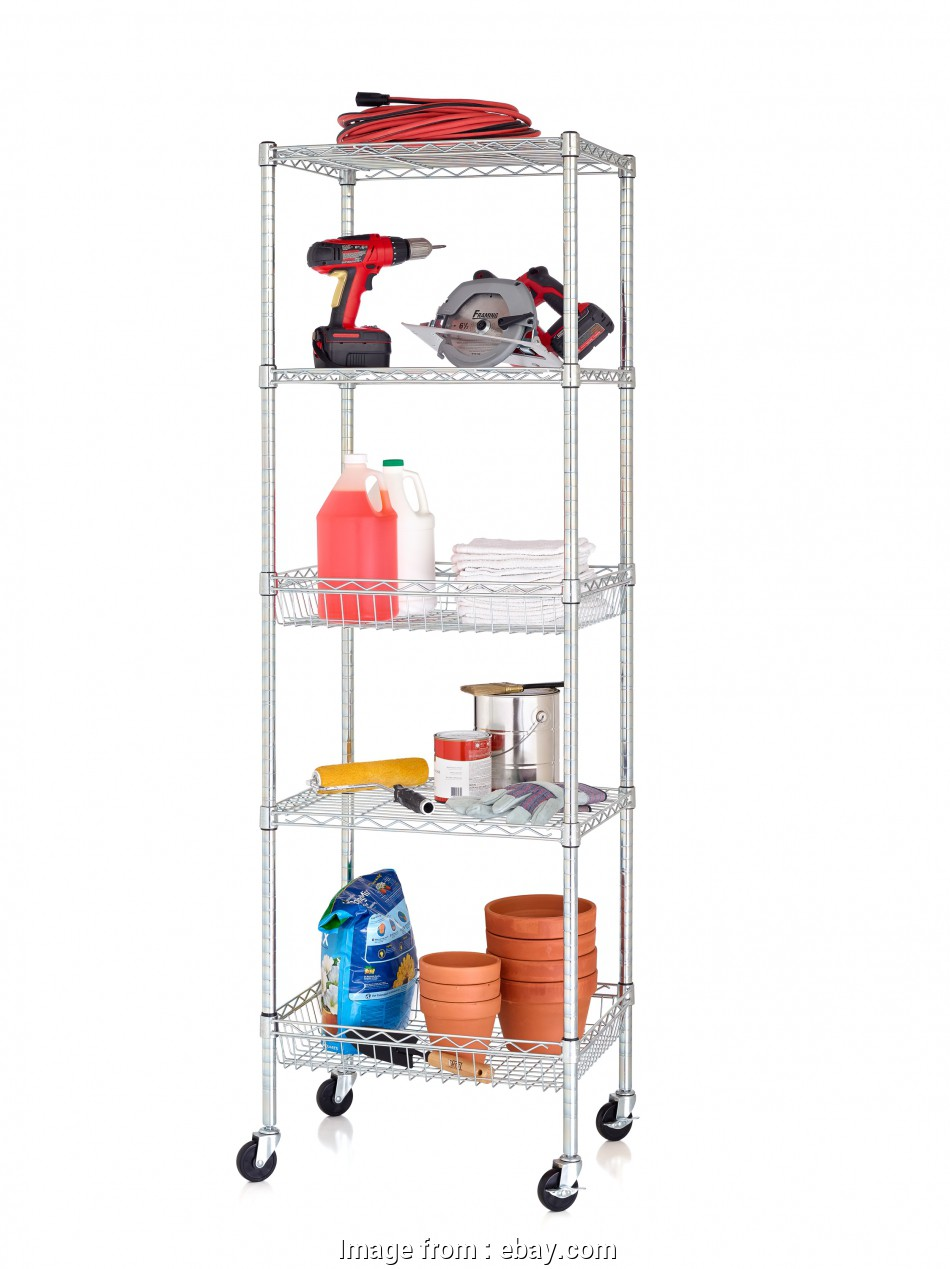 """chrome wire shelving wholesalers australia Details about, 5 Tier Wire Shelving Tower Rack with 3"""" Casters, 18"""