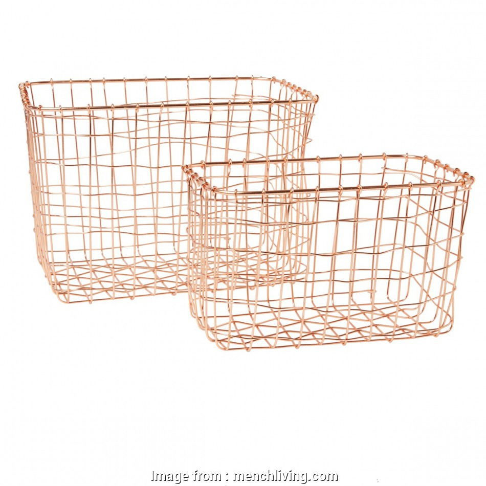 copper wire mesh baskets Set of 2 Copper Wire Mesh Rectangular Baskets 10 Creative Copper Wire Mesh Baskets Ideas