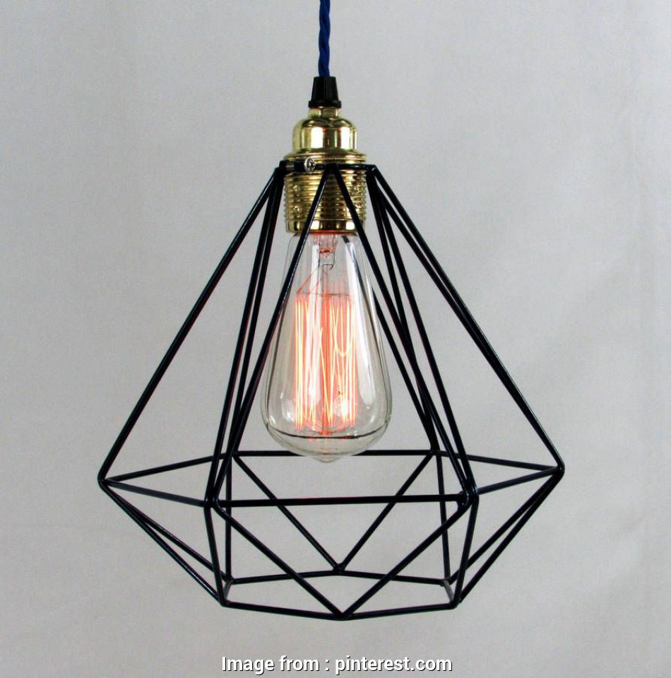 diamond wire cage pendant light Modern diamond shaped cage pendant with decorative filament light bulb, coloured fabric cable in, styles.The cable is available in a selection of 16 Most Diamond Wire Cage Pendant Light Ideas