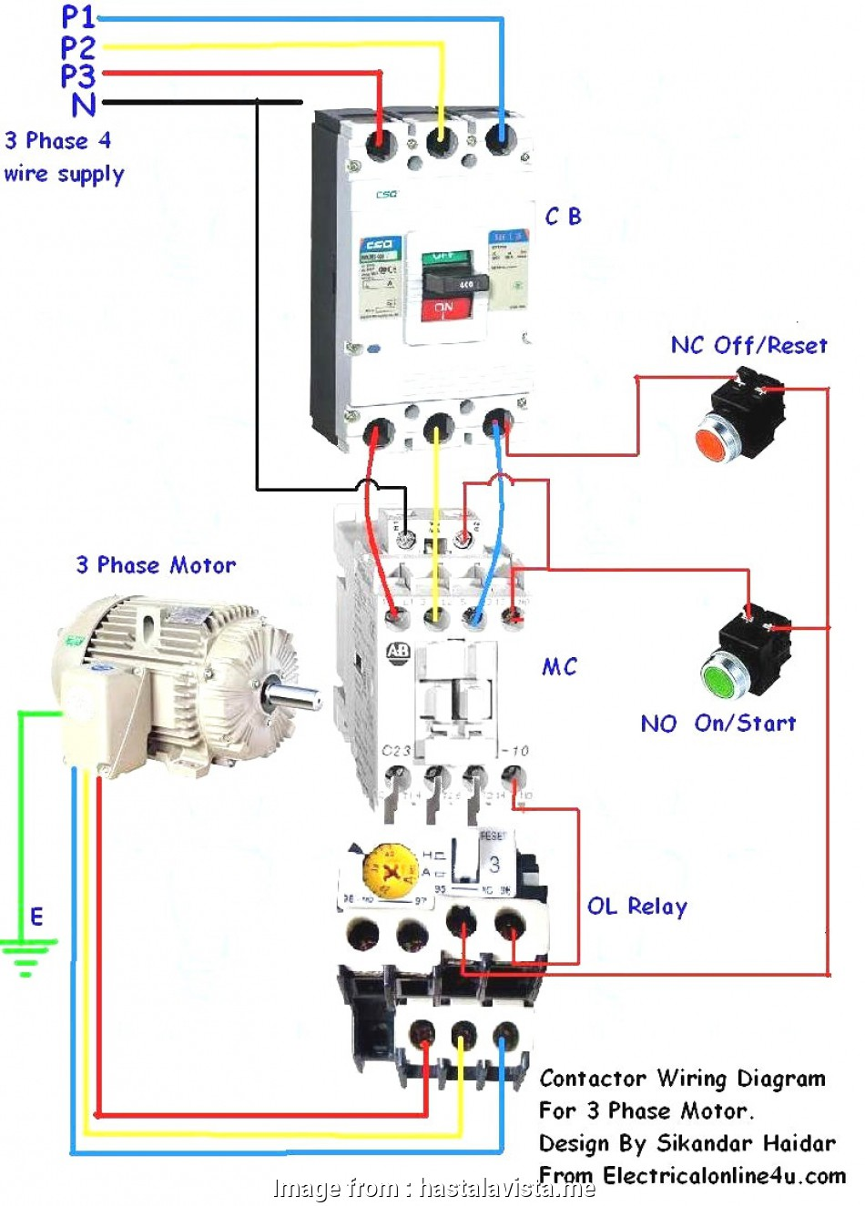 Direct Online Starter Wiring Diagram Brilliant     Pole Contactor Wiring Diagram Square Lighting