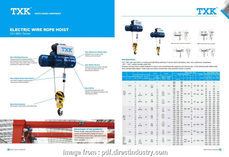Electric Wire Rope Hoist Simple Txk  Electric Wire Rope