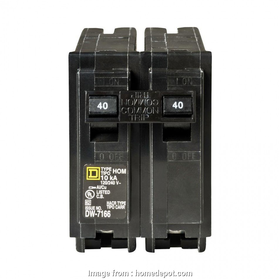 electrical wire size for 40 amps Square D Homeline 40, 2-Pole Circuit Breaker-HOM240CP -, Home Depot 14 New Electrical Wire Size, 40 Amps Images
