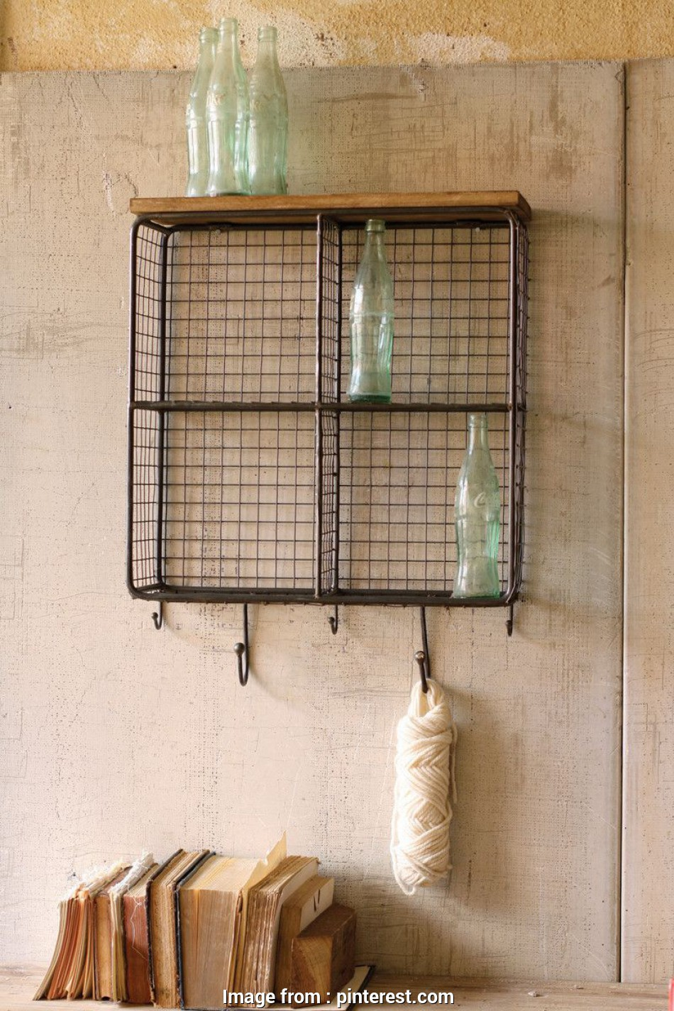 hanging wire mesh shelves Featuring a wire mesh back, four cubbies, storage,, hooks, hanging sweaters, keys, this, metal shelf is stylish, functional 18 Perfect Hanging Wire Mesh Shelves Photos