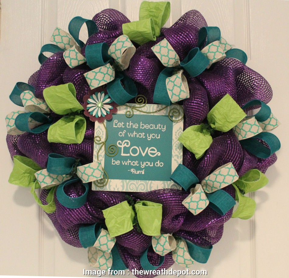 how to make wire mesh ribbon wreaths DIY Purple Ribbon Wreath