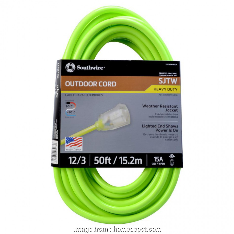 how to wire a light to extension cord Southwire 50, 12/3 SJTW Hi-Visibility Outdoor Heavy-Duty Extension Cord with Power Light Plug 14 Practical How To Wire A Light To Extension Cord Images