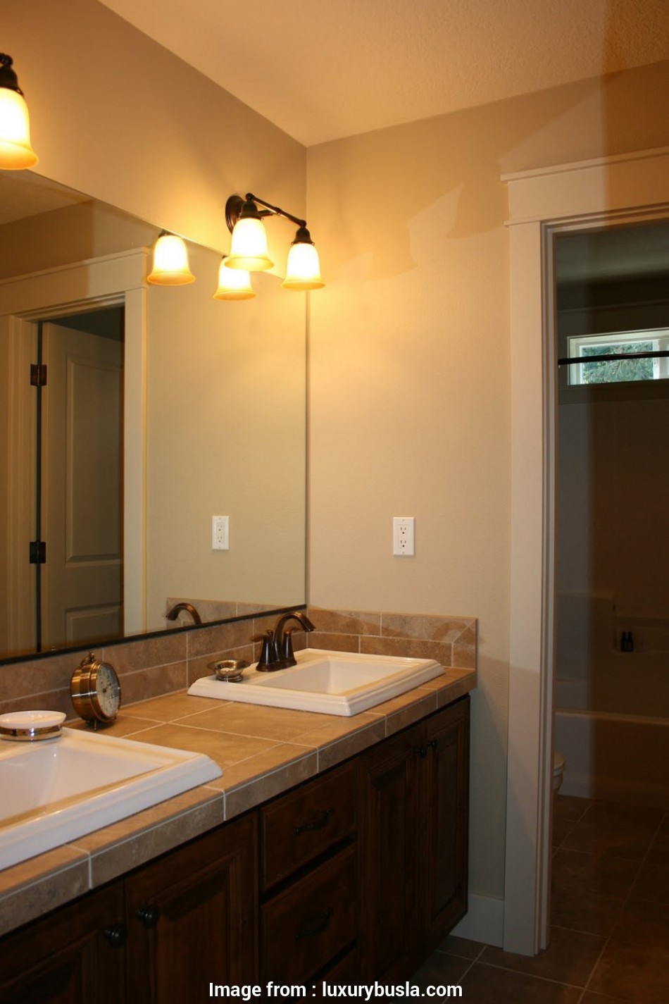 how to wire a vanity light in the bathroom bathroom, Beige Bathroom Design Idea Feat Awesome Frameless Mirror, Eclectic Twin Wall Mounted Lights How To Wire A Vanity Light In, Bathroom Popular Bathroom, Beige Bathroom Design Idea Feat Awesome Frameless Mirror, Eclectic Twin Wall Mounted Lights Images