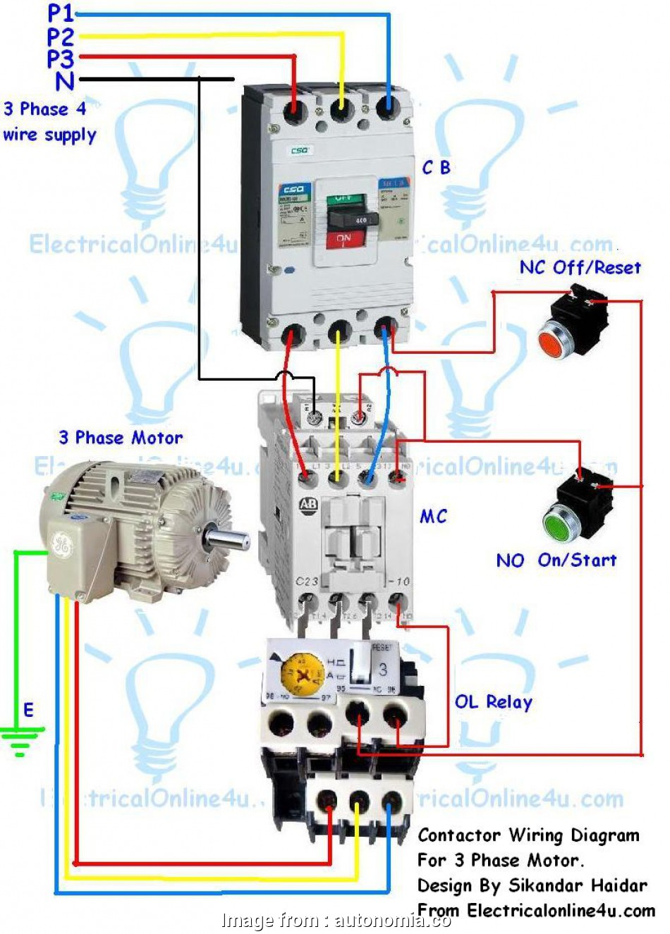 l&t starter wiring diagram contactor wiring guide, 3 phase motor with circuit  motor starter wiring
