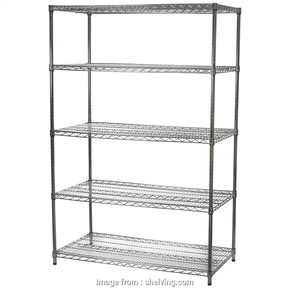 metro black wire shelving Wire Shelving Unit with Five Shelves, 24
