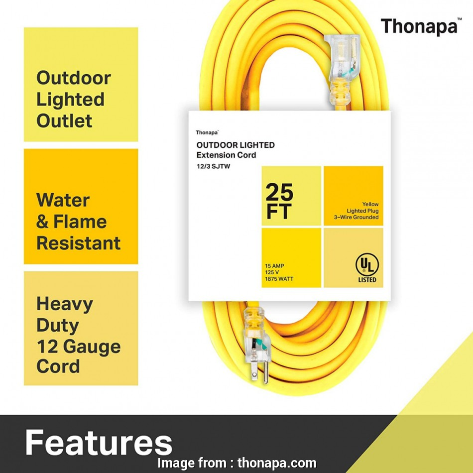 napa 12 gauge wire Thonapa 10, 25, 50 Ft or, Ft Outdoor Extension Cord, 12/3 Heavy Duty Yellow Extension Cable with 3 Prong Grounded Plug, Safety 14 Best Napa 12 Gauge Wire Photos