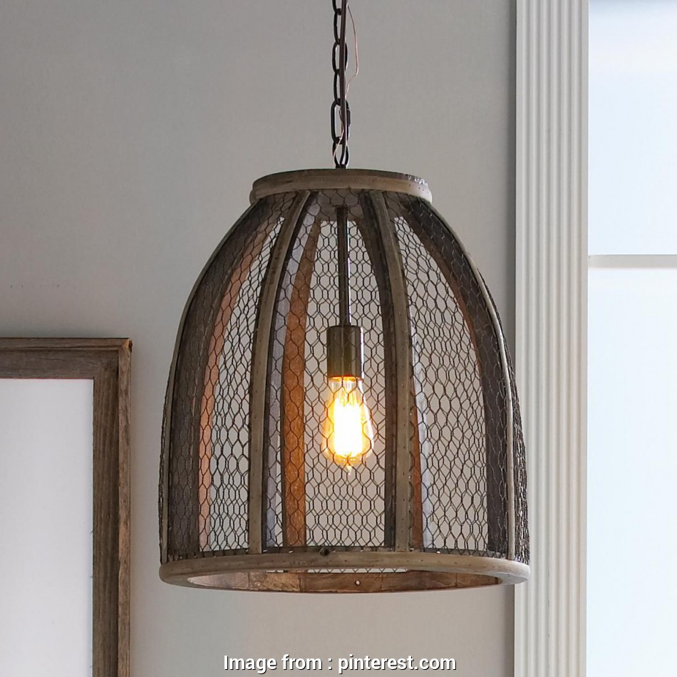 pottery barn chicken wire pendant light Large Chicken Wire Pendant Light with mesh wire wrapped around a distressed wood frame, this pendant is perfect as a single or as several grouped together 12 Nice Pottery Barn Chicken Wire Pendant Light Photos