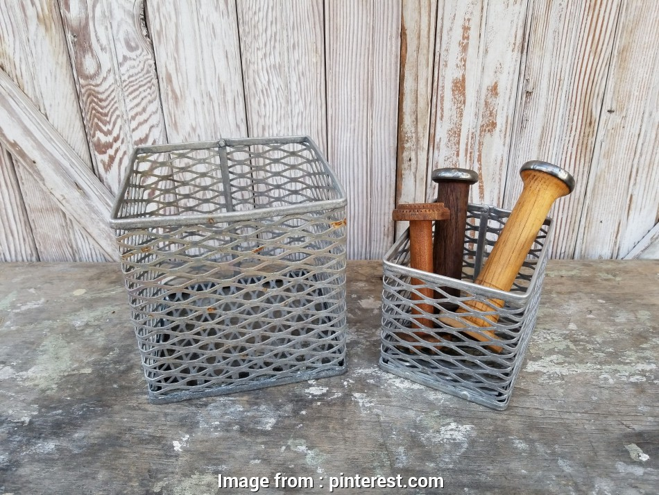 rustic wire mesh baskets Wire Mesh Metal Baskets (Set of 2) ~ Industrial Farmhouse ~ Mesh Metal Bins 17 Most Rustic Wire Mesh Baskets Collections