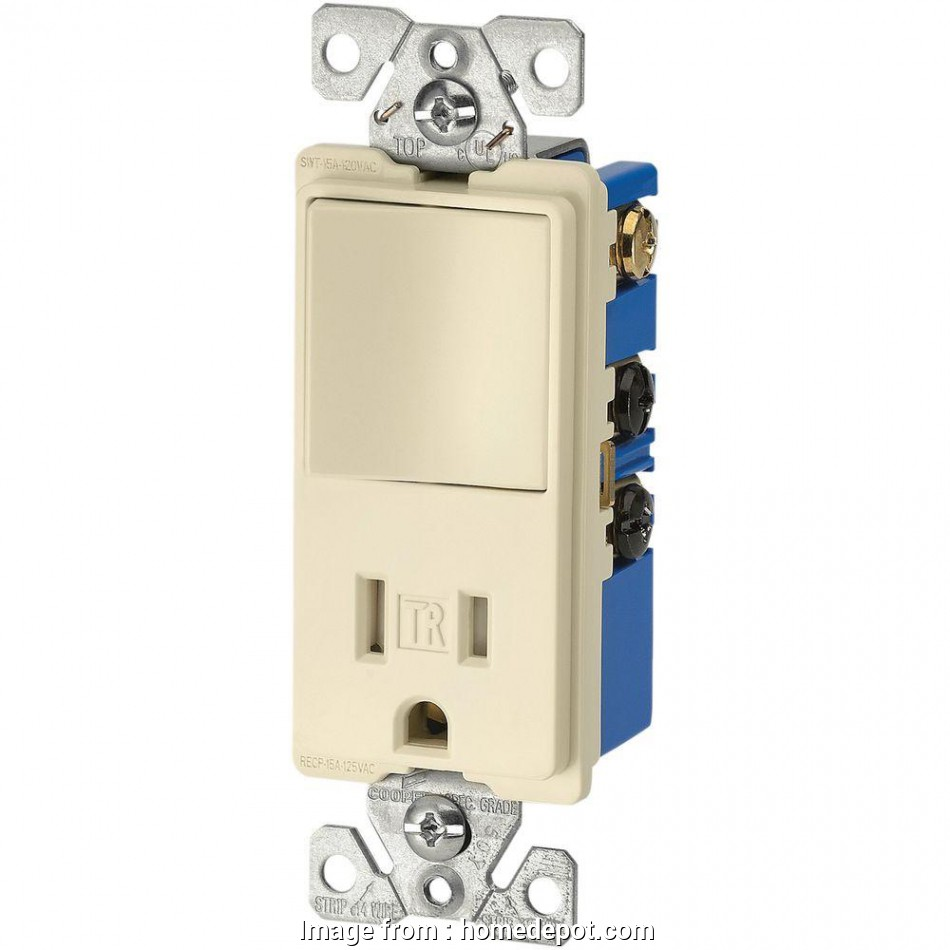 single pole switch with receptacle wiring Eaton 15, 3-Wire TR Receptacle 120-Volt Decorator Combination Single-Pole Switch with 2-Pole, Almond 14 Practical Single Pole Switch With Receptacle Wiring Collections