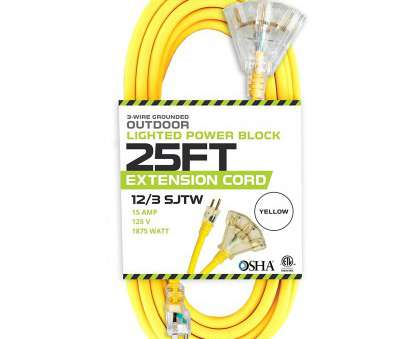 12 gauge wire on 15 amp outlet 25 Foot Lighted Outdoor Extension Cord with 3 Electrical Power Outlets, 12/3 SJTW Heavy Duty Yellow 12 Gauge Wire On 15, Outlet Professional 25 Foot Lighted Outdoor Extension Cord With 3 Electrical Power Outlets, 12/3 SJTW Heavy Duty Yellow Pictures