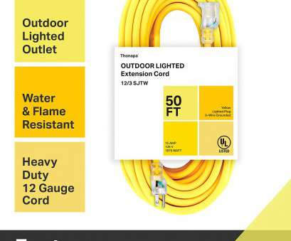 12 gauge wire on 15 amp outlet Thonapa 50 Foot Outdoor Extension Cord, 12/3 Heavy Duty Yellow Extension Cable with 3 Prong Grounded Plug, Safety, Great, Garden, Major 12 Gauge Wire On 15, Outlet Professional Thonapa 50 Foot Outdoor Extension Cord, 12/3 Heavy Duty Yellow Extension Cable With 3 Prong Grounded Plug, Safety, Great, Garden, Major Pictures