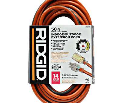 14 gauge wire max watts RIDGID 50, 14/3 Outdoor Extension Cord-657-143050RL6A, The 15 Cleaver 14 Gauge Wire, Watts Solutions