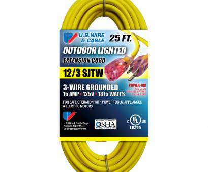 18 gauge wire extension cord US Wire 74025 12/3 25-Foot SJTW Yellow Heavy Duty Lighted Plug Extension Cord, Amazon.com 18 Gauge Wire Extension Cord Professional US Wire 74025 12/3 25-Foot SJTW Yellow Heavy Duty Lighted Plug Extension Cord, Amazon.Com Solutions