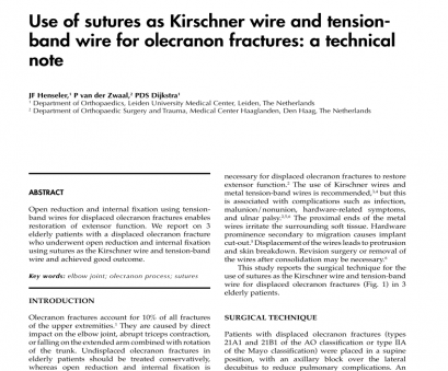 18 gauge wire for surgery (PDF) Repair of olecranon fractures using fiberWire without metallic implants: Report of, cases 18 Gauge Wire, Surgery Creative (PDF) Repair Of Olecranon Fractures Using FiberWire Without Metallic Implants: Report Of, Cases Photos