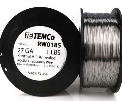 22 Gauge Flat Kanthal Wire Top TEMCO KANTHAL A1 Wire 27 Gauge 1 Lb (2040, Resistance, A-1 Collections