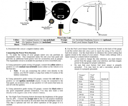 22 gauge wire amps 12v GlowShift 7 Color Series Fuel Level Gauge User Manual, 3 pages, Also for: Fuel Level Gauge 22 Gauge Wire Amps 12V Fantastic GlowShift 7 Color Series Fuel Level Gauge User Manual, 3 Pages, Also For: Fuel Level Gauge Galleries