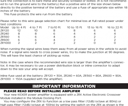 8 gauge wire chart Page 4 of 12, Kicker Kicker-Zr-Amplifiers-Owners-Manual 8 Gauge Wire Chart Professional Page 4 Of 12, Kicker Kicker-Zr-Amplifiers-Owners-Manual Collections
