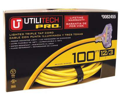 Can 12 Gauge Wire Be Used With A 15, Breaker Practical Utilitech, 100-Ft 15-Amp 120-Volt 3-Outlet 12 Photos