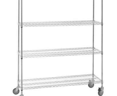 chrome plated wire shelving HUBERT® 4-Shelf Chrome-Plated Mobile Wire Shelving, 60