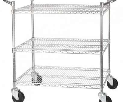 chrome plated wire shelving Winco VCCD-1836B 3-Tier Wire Chrome Plated Shelving Cart 18