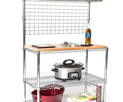 chrome wire shelving shelf mats Deluxe Chrome Bakers Rack with, Shelf, Hanging Grid & Butcher Block Chrome Wire Shelving Shelf Mats Brilliant Deluxe Chrome Bakers Rack With, Shelf, Hanging Grid & Butcher Block Images