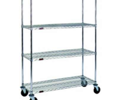 chrome wire shelving with wheels Chrome Wire Rolling Shelf Cart (36