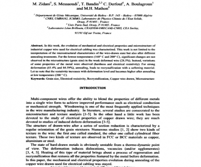 copper wire electrical properties (PDF) Evolution of Mechanical, Electrical Properties During Annealing of, Copper Wire Drawn Copper Wire Electrical Properties New (PDF) Evolution Of Mechanical, Electrical Properties During Annealing Of, Copper Wire Drawn Ideas