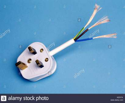 Copper Wires Electrical Outlet Practical UK Style Three, Plug Showing Colours, Earth Live, Neutral Plus Stranded Copper Conductors Pictures