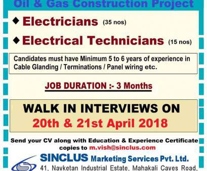 Electrical Panel Wiring Jobs In Mumbai New Electricians / Electrical Technicians, Oil &, Project In, (5, Yrs Exp.) Photos
