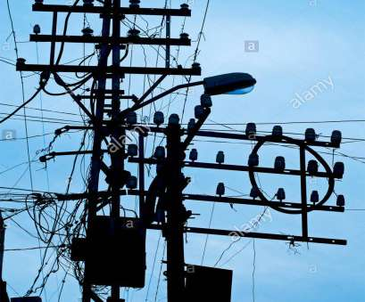 Electrical Wire Colours India Most Chaos Of Electric Wires Suspended On Poles At Rajkot ; Gujarat ; India, Stock Image Photos