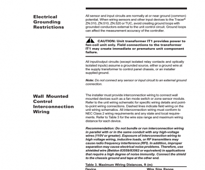 electrical wire size vs distance Wall mounted control interconnec, Tion wiring, Electrical grounding restric, Trane LO User Manual, Page 35 / 136 Electrical Wire Size Vs Distance Creative Wall Mounted Control Interconnec, Tion Wiring, Electrical Grounding Restric, Trane LO User Manual, Page 35 / 136 Galleries