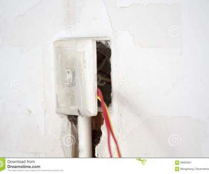 Electrical Wiring Residential Light Switch New Electrical Renovation Work Cable Electric.Electrical, With Wiring During Residential Renovation.A Light Switch Hanging, The Wall Photos