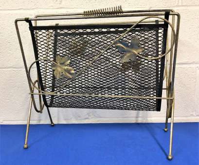 Gold Wire Mesh Screen Popular Mid Century Gold Tone Wire Mesh Magazine Rack Holder With Leaf Accents, Black Metal Screen With Design Photos