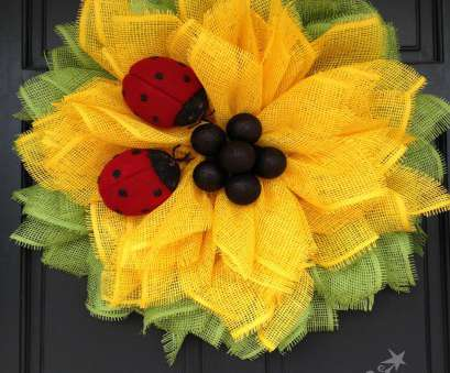 how to make wire mesh ribbon wreaths Sunflower Ladybug Wreath 2016, Trendy Tree Blog| Holiday Decor How To Make Wire Mesh Ribbon Wreaths Popular Sunflower Ladybug Wreath 2016, Trendy Tree Blog| Holiday Decor Images