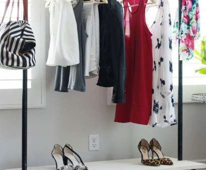 how to reinforce wire closet shelving DIY Freestanding Industrial Look Garment Rack, rooms with no closet or that need more closet space, 1/2