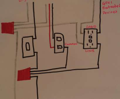 how to wire a light switch and an outlet together electrical, Taking power from double light switch to GFCI outlet How To Wire A Light Switch, An Outlet Together Popular Electrical, Taking Power From Double Light Switch To GFCI Outlet Pictures
