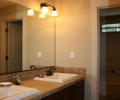 How To Wire A Vanity Light In, Bathroom Popular Bathroom, Beige Bathroom Design Idea Feat Awesome Frameless Mirror, Eclectic Twin Wall Mounted Lights Images