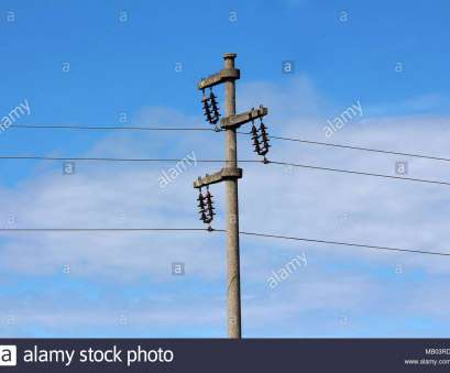 live wire electrical bangor Concrete electrical power line utility pole with three connected wires on blue cloudy, background 9 Nice Live Wire Electrical Bangor Pictures